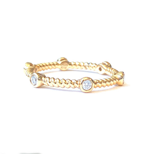 BEZEL DIAMOND ROPE STACK-ABLE BAND 18KTRG SIZE 6.5
