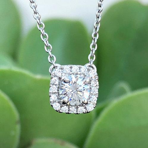 18KTWG SQUARE CUSHION HALO DIAMOND NECKLACE