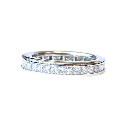 PRINCESS CUT DIAMOND ETERNITY BAND IN PLATINUM SIZE 4.5