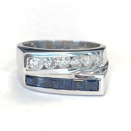 BLUE SAPPHIRE & DIAMOND ANNIVERSARY BAND