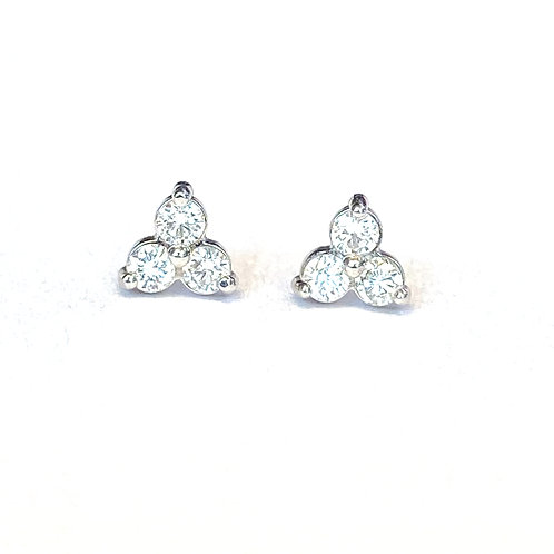 PETITE THREE STONE DIAMOND STUD EARRINGS
