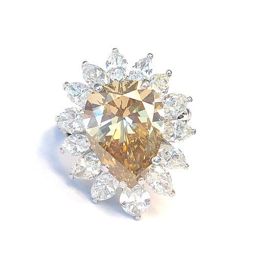 6.02CT. FANCY BROWN-YELLOW PEAR DIAMOND RING