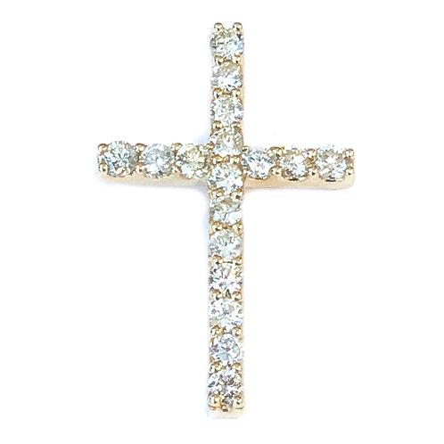 0.84CTTW DIAMOND YELLOW GOLD CROSS PENDANT