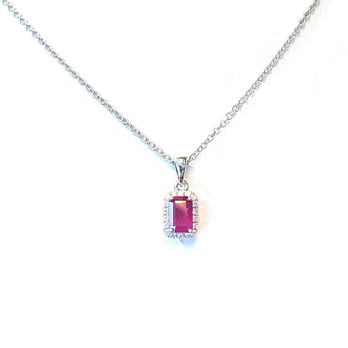 0.65CT. GIA BURMESE RUBY & DIAMOND HALO PENDANT NECKLACE