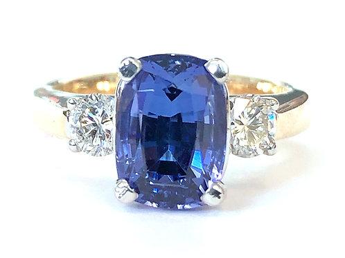 2.58CT. CUSHION CUT TANZANITE & DIAMOND THREE STONE RING