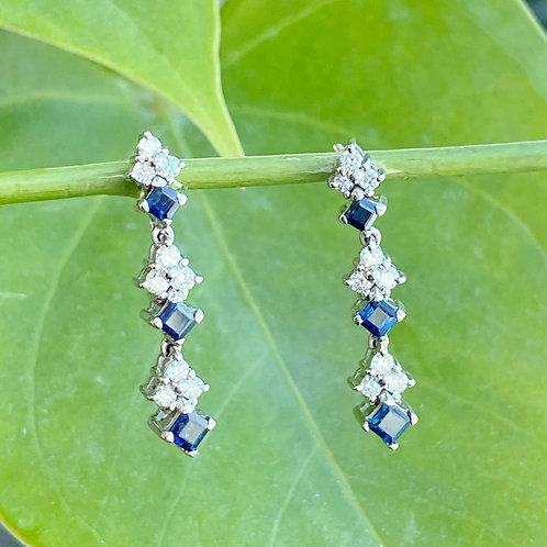 BLUE SAPPHIRE & DIAMOND DROP STYLE EARRINGS