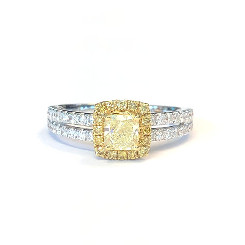 0.50CT. FANCY YELLOW RADIANT CUT DIAMOND HALO RING