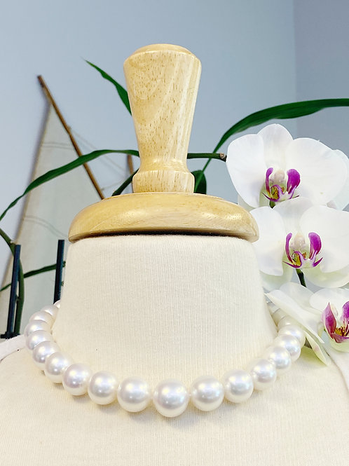 LARGE GRADUATED 13 - 16.5 mm SOUTH SEA PEARL NECKLACE WITH DIAMOND CLASP