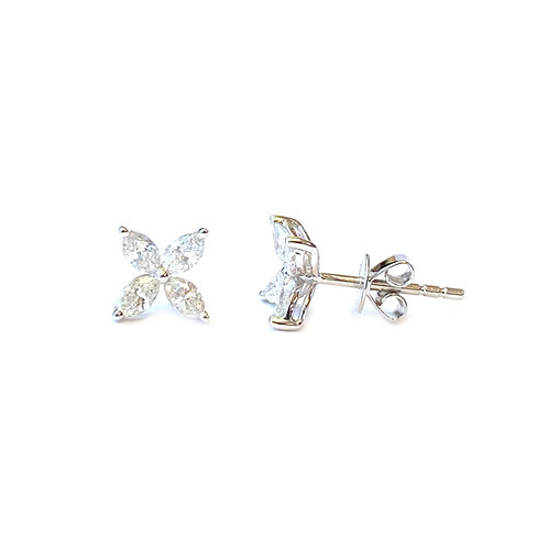 0.65CT. FOUR MARQUISE DIAMOND STUD EARRINGS
