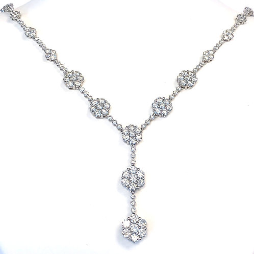 10.05 CT. FLORAL CLUSTER STATIONED DIAMOND TENNIS NECKLACE WITH DANGLE