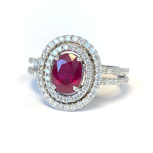 1.32CT. OVAL RUBY & DOUBLE DIAMOND HALO RING