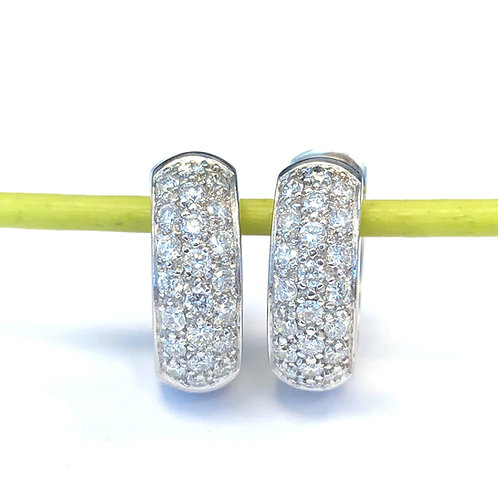 PLATINUM PAVE DIAMOND HUGGIES HOOP EARRINGS