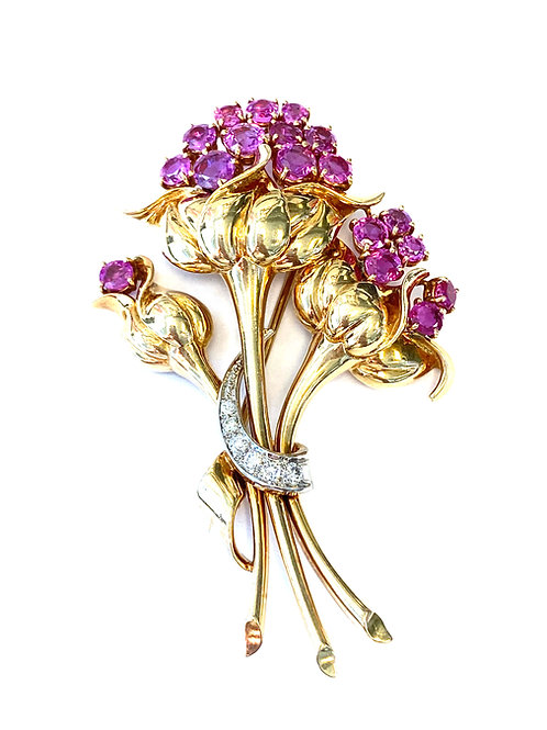VINTAGE RUBY & DIAMOND FLOWER BOUQUET BROOCH