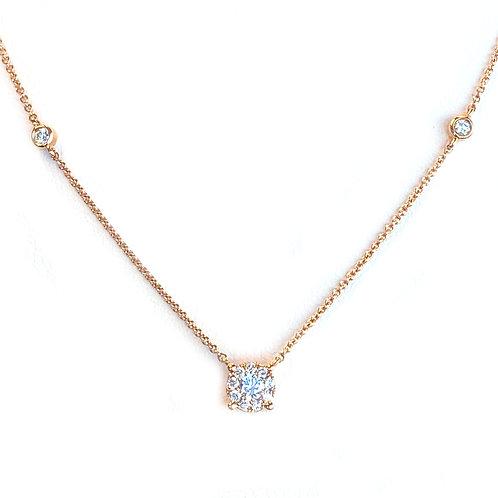 PETITE ROSE GOLD ROUND DIAMOND CLUSTER HALO NECKLACE