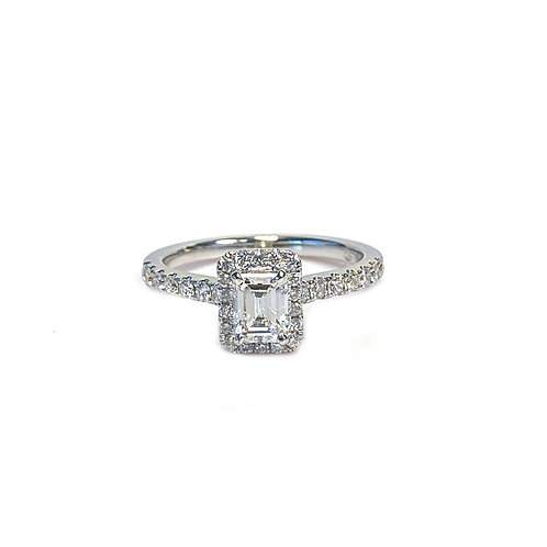 0.90CTTW. EMERALD CUT DIAMOND HALO RING 18KTWG