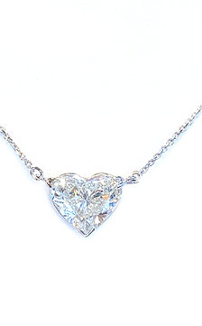 3.01CT. GIA HEART DIAMOND SOLITAIRE PENDANT NECKLACE