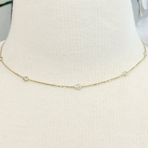 0.54CT. BEZEL STATIONED DIAMOND YELLOW GOLD NECKLACE