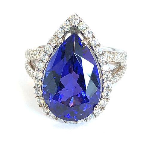 9.64CT. PEAR SHAPE TANZANITE & DIAMOND HALO RING