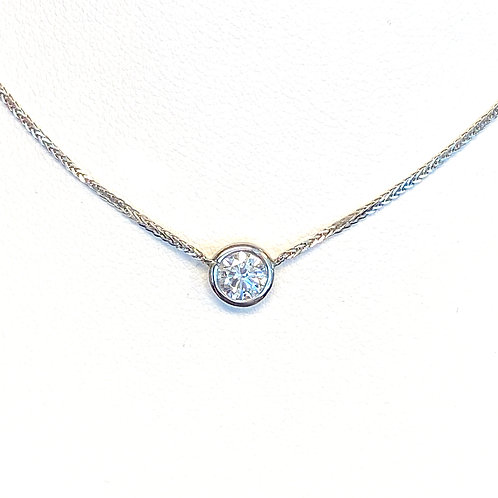 0.44CT. GIA ROUND DIAMOND BEZEL PENDANT NECKLACE