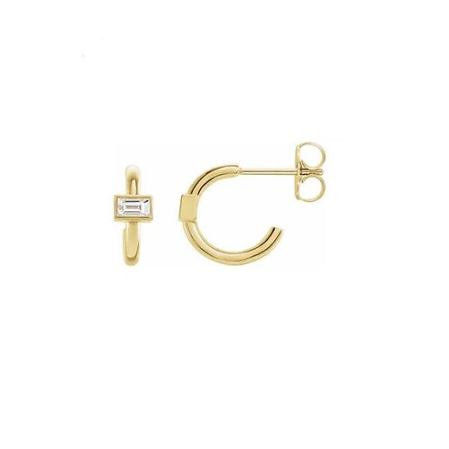 0.16CTTW. BAGUETTE CUT DIAMOND J- HOOP EARRINGS