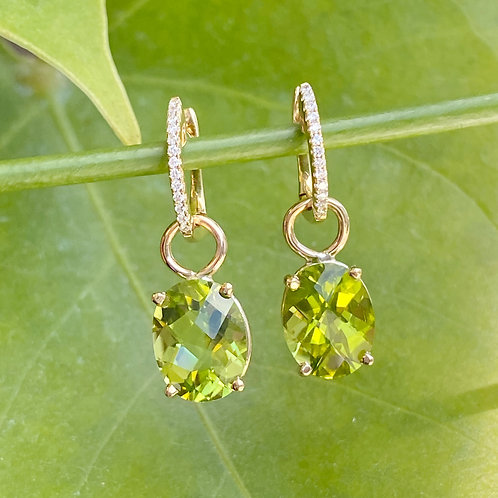 18KTYG DIAMOND & PERIDOT DETACHABLE DANGLE EARRINGS