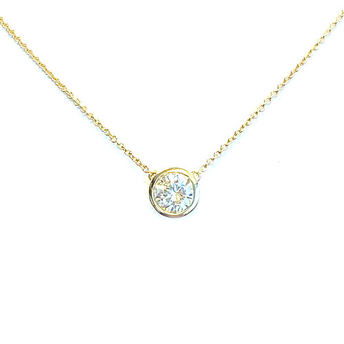 0.52CT. ROUND BEZEL DIAMOND PENDANT NECKLACE