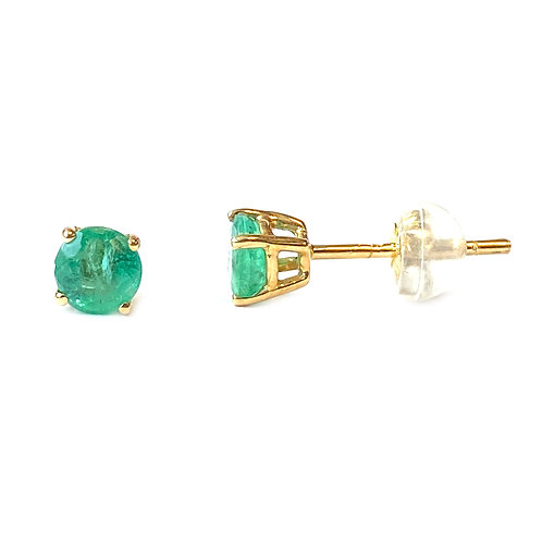 4.5MM 18KTYG GREEN EMERALD STUD EARRINGS