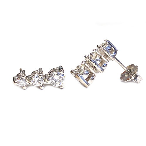 0.66CTTW. GRADUATED DIAMOND THREE -STONE EARRINGS