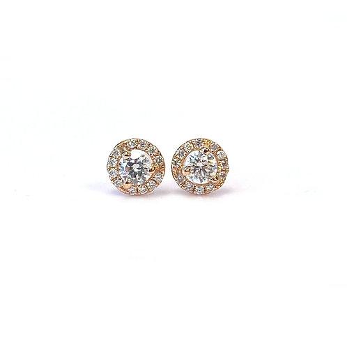 0.25CTTW. PETITE ROUND DIAMOND HALO STUD EARRINGS 18KTRG