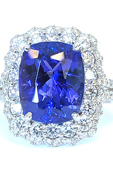 5.78CT. CUSHION CUT TANZANITE & DOUBLE DIAMOND HALO RING