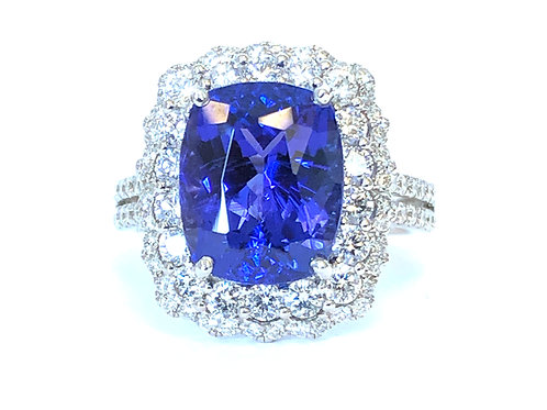 5.78CT. CUSHION CUT TANZANITE & DOUBLE DIAMOND HALO RING