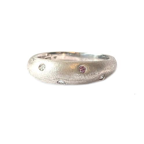 PINK & WHITE DIAMOND PLATINUM RING