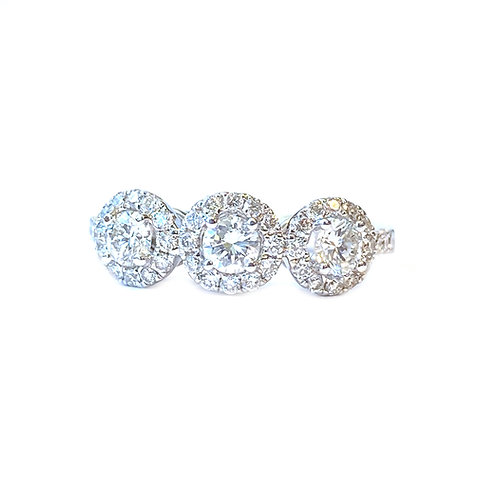 18KTWG TRIPLE DIAMOND HALO ENGAGEMENT RING