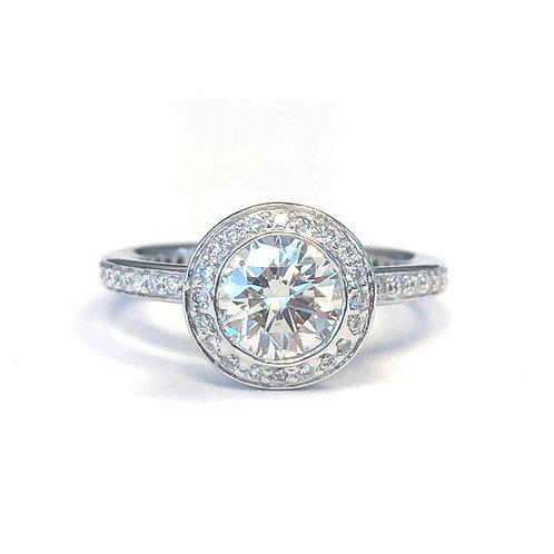 ROUND BEZEL HALO DIAMOND ENGAGEMENT RING