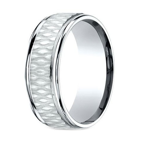 Benchmark® 8MM TEXTURED CENTER WITH POLISHED EDGES MEN'S BAND SIZE 10.5