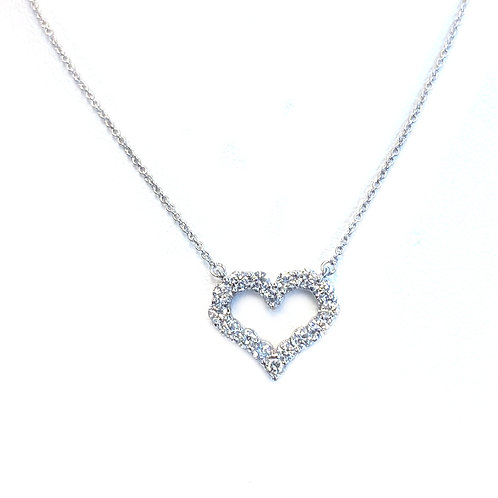 0.54CTTW. OPEN HEART DIAMOND NECKLACE 14KWG