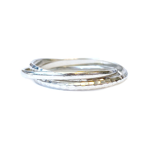 PLATINUM THREE BAND ROLLING RING SIZE 6