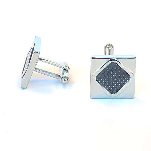 CARBON FIBER STAINLESS STEEL CUFFLINKS SET OF 2