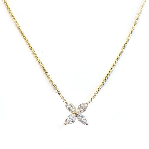 18KTYG MARQUISE DIAMOND FLOWER NECKLACE 1.18CTTW.
