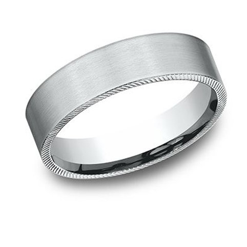 Benchmark® 6.5MM SATIN-FINISH DETAILED EDGING MEN'S BAND SIZE 9.5