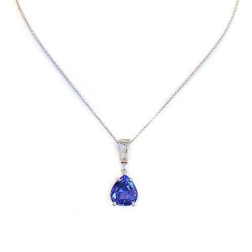 2.54CT. TANZANITE AND DIAMOND DANGLE PENDANT NECKLACE