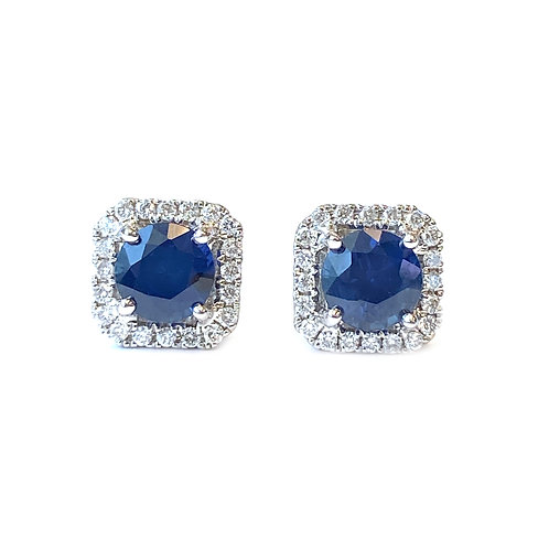 ROUND BLUE SAPPHIRE & SQUARE DIAMOND HALO STUD EARRINGS