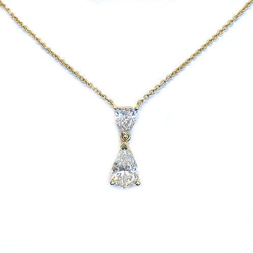 FASHION UPSIDE DOWN PEAR SHAPE DIAMOND PENDANT NECKLACE