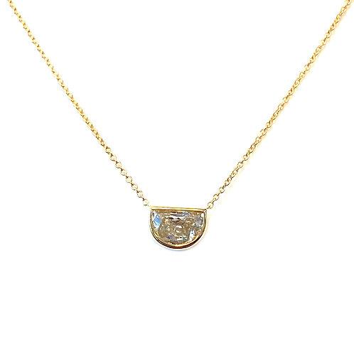 0.77CT. GIA HALF-MOON DIAMOND BEZEL NECKLACE 18KTYG