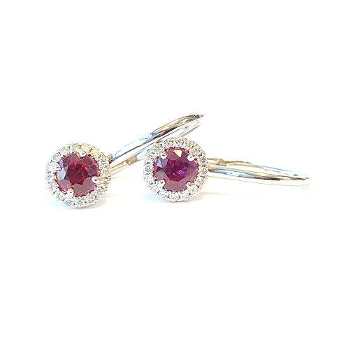RUBY & DIAMOND HALO LEVER BACK EARRINGS