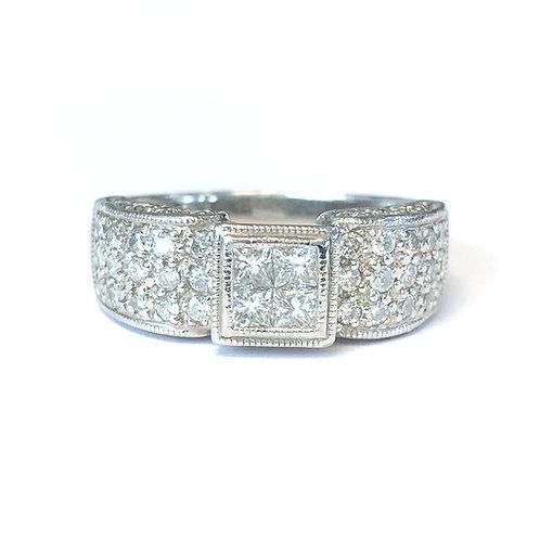 PRINCESS & ROUND CUT DIAMOND PLATINUM RING