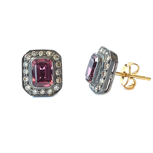 RUBELLITE TOURMALINE & DIAMOND STUD EARRINGS