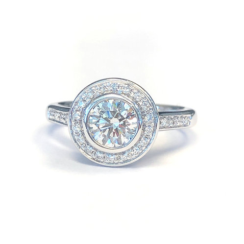 0.98 CTTW. DIAMOND BEZEL HALO ENGAGEMENT RING
