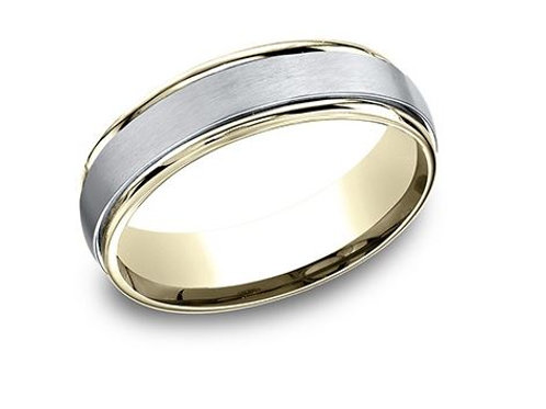 Benchmark® 6MM TWO-TONED GOLD SATIN-FINISHED MEN'S BAND SIZE 9