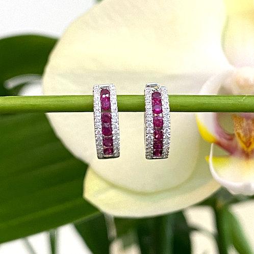 RUBY & DIAMOND PETITE HUGGIE HOOP EARRINGS IN 18KTWG